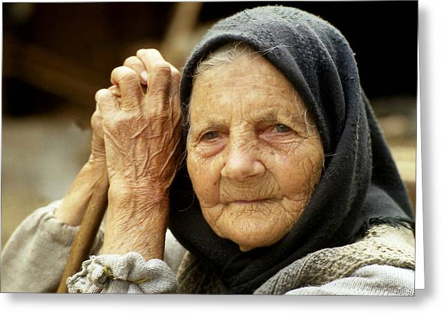 Old Woman In Vrancea Romania Greeting Card by Emanuel Tanjala