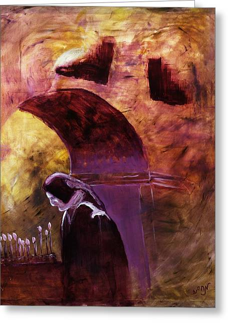 Greeting Card featuring the painting Old Woman Lighting Candles In Cathedral In Purple And Yellow  by MendyZ M Zimmerman
