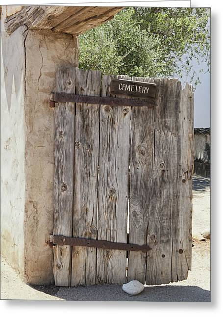 Old Wooden Cemetery Gate In The Adobe Greeting Card by Douglas Orton
