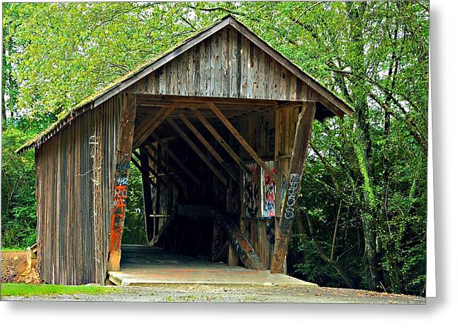 Old Wooden Covered Bridge Greeting Card by Susan Leggett