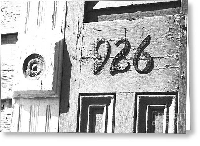 Old Worn Wooden Door And Numbers French Quarter New Orleans Black And White Film Grain Digital Art Greeting Card