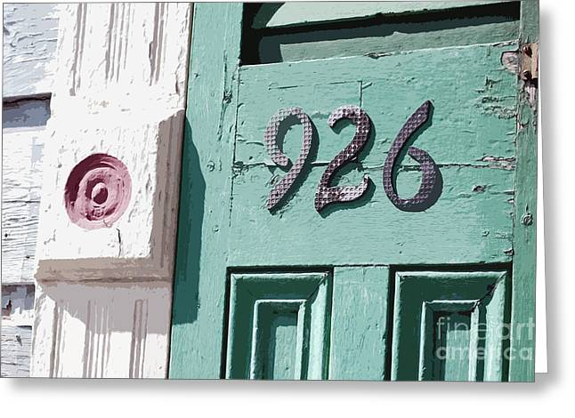 Old Worn Wooden Door And Numbers French Quarter New Orleans Cutout Digital Art Greeting Card