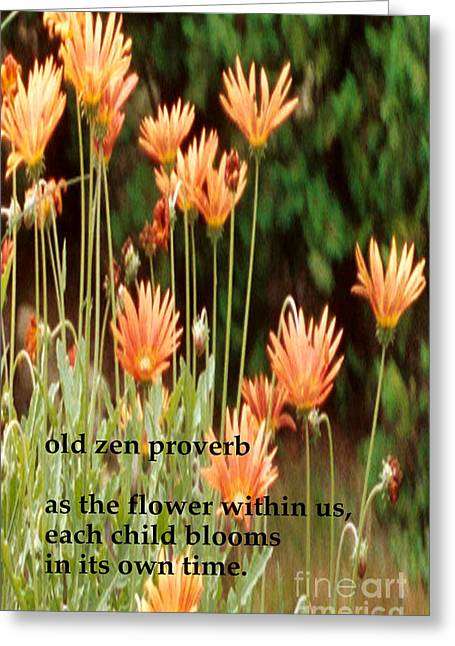 Old Zen Proverb Greeting Card by Richard Donin