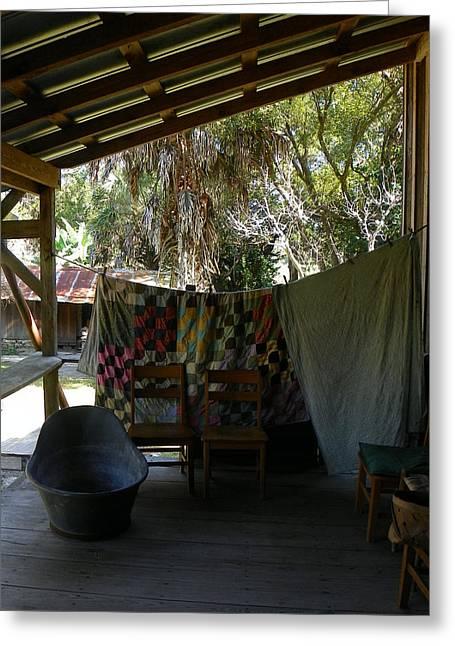 Ole Back Porch And Bathtub Greeting Card
