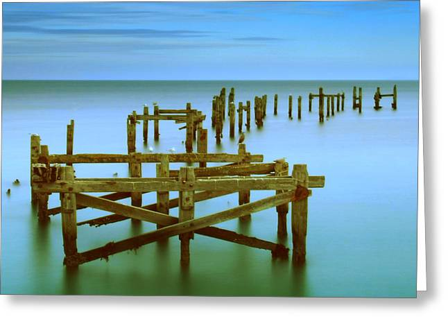 Ols Swanage Pier Greeting Card by Mark Leader