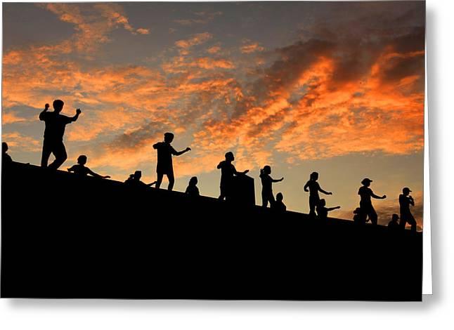 Olympic Stadium At Sunrise Greeting Card by Francisco De Souza