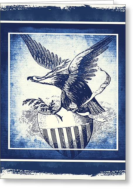 On Eagles Wings Blue Greeting Card by Angelina Vick