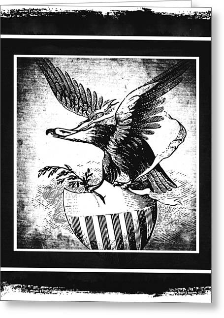 On Eagles Wings Bw Greeting Card by Angelina Vick