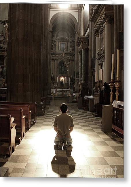 On My Knees In Prayer Greeting Card by Rick Wolfryd