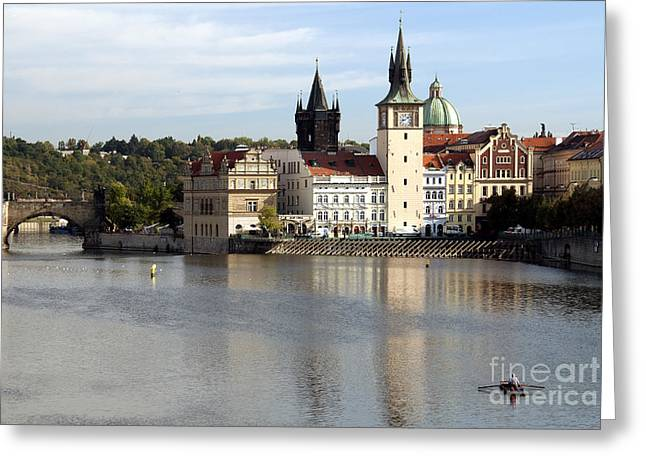 On The Banks Of Vltava River Greeting Card by Ivy Ho