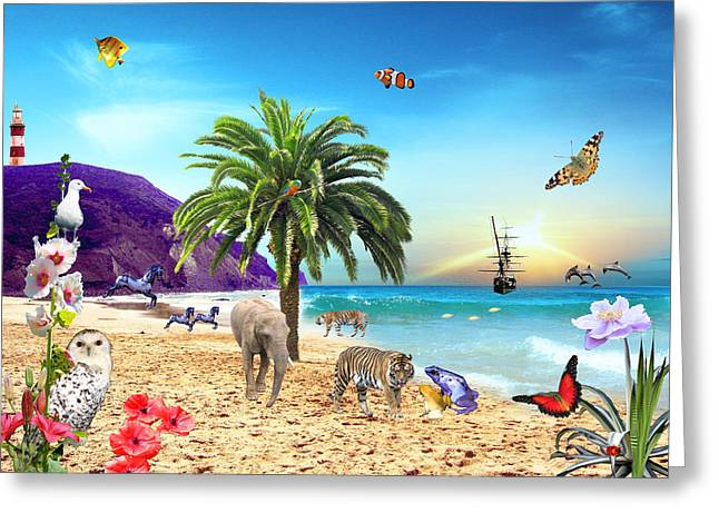 On The Beach Greeting Card by Emily Campbell