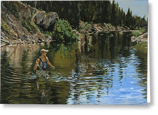 On The Deadwood River Greeting Card