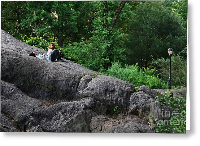 On The Rocks In Central Park Greeting Card by Lee Dos Santos