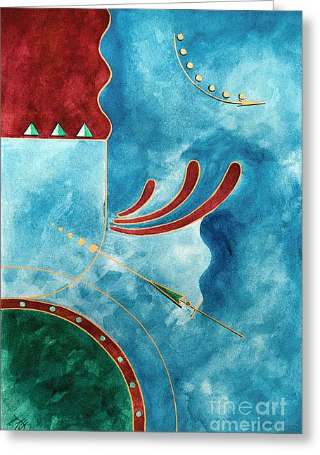 Greeting Card featuring the painting On The Straight And Arrow by Arthaven Studios