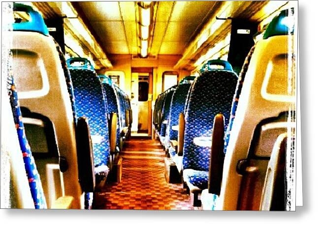 On The Train #train #seats #door Greeting Card