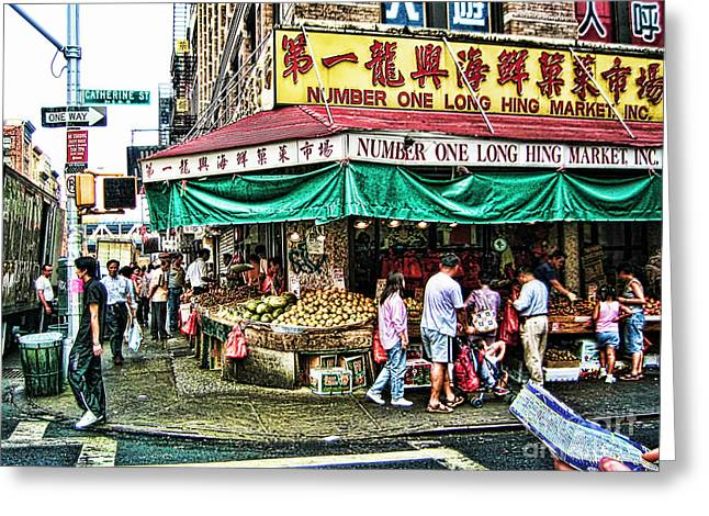 On Tour In Chinatown-nyc Greeting Card by Anne Ferguson