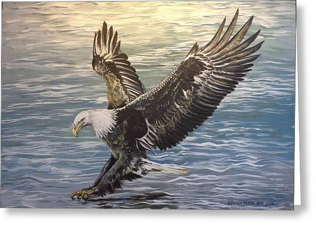 On Wings Of Eagles Greeting Card by Cecilia Putter