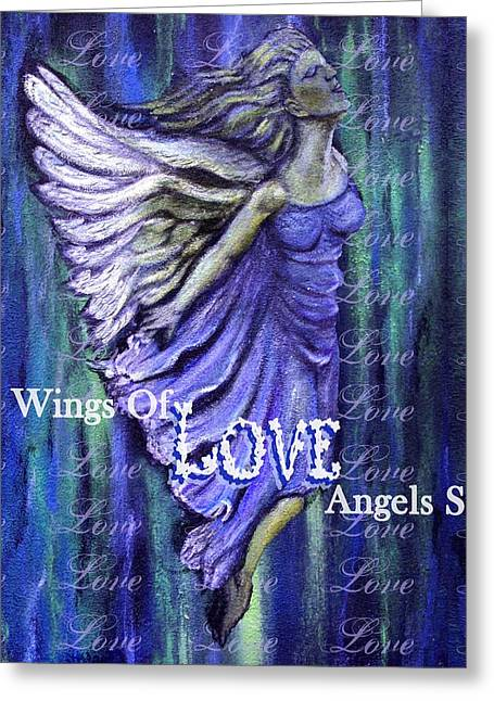 On Wings Of Love Angels Sing Greeting Card by The Art With A Heart By Charlotte Phillips