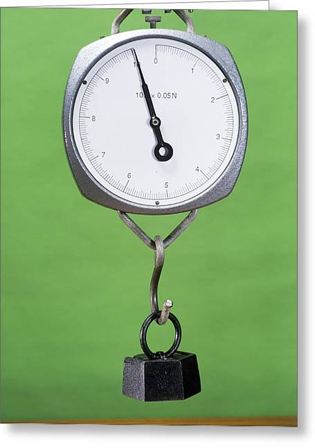 One Kilogram Mass On A Newtonmeter Greeting Card by Andrew Lambert Photography