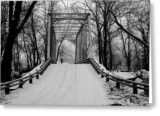One Lane Bridge In Snow Greeting Card