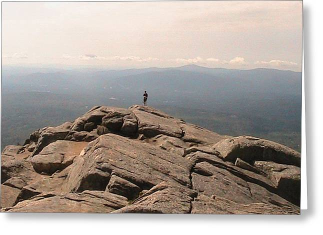 One Man Standing On Top Of The World Greeting Card by Rachel Snell