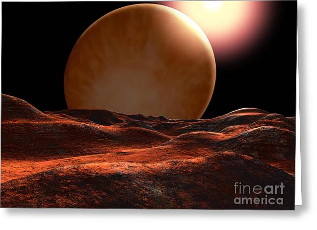 One Of The Planets Orbiting 70 Virginis Greeting Card by Ron Miller