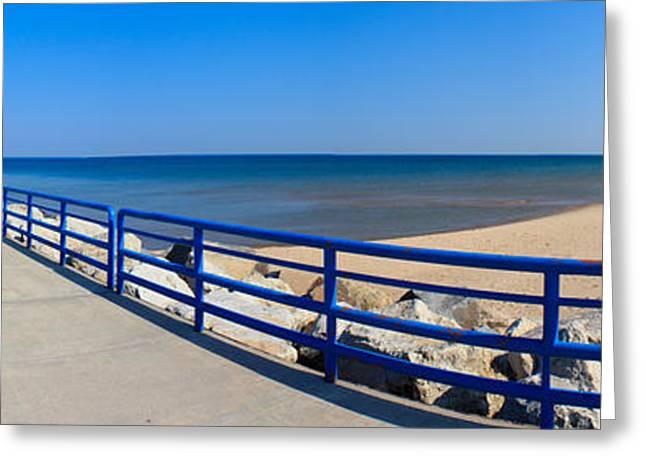 Onekama Michigan Pier And Beach Greeting Card
