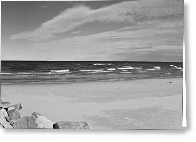 Onekama Pier And Beach In Black And White Greeting Card by Twenty Two North Photography