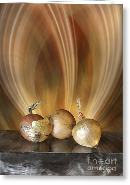 Greeting Card featuring the digital art Onions by Johnny Hildingsson