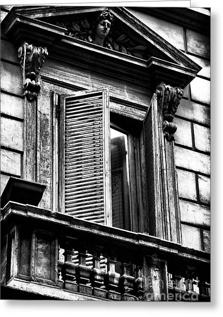Open Shutter In Rome Greeting Card by John Rizzuto