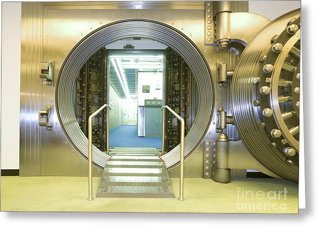 Open Vault At A Bank Greeting Card by Adam Crowley