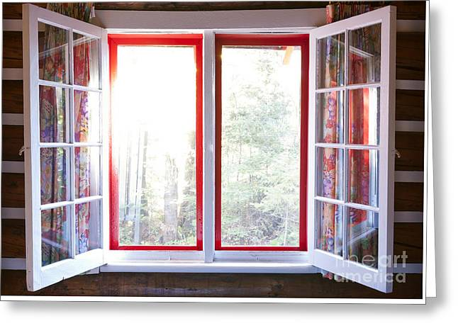 Open Window In Cottage Greeting Card