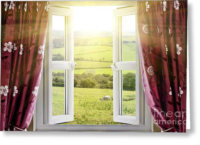 Open Window With Countryside View Greeting Card by Simon Bratt Photography LRPS