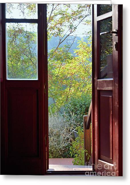 Opened Door By Garden Greeting Card by Sami Sarkis
