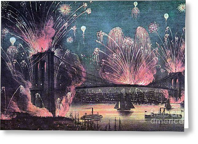 Opening Of Brooklyn Bridge Celebration Greeting Card by Photo Researchers