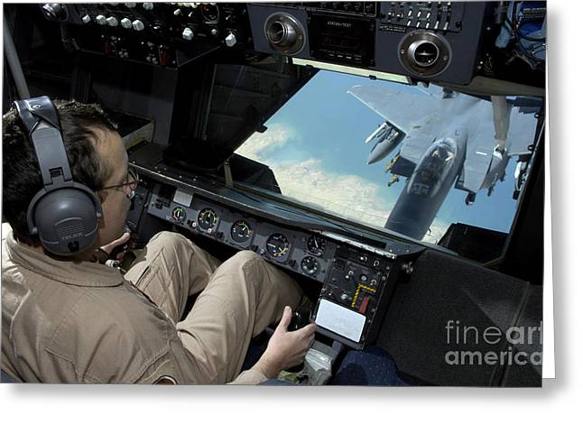 Operator Refuels An F-16 Fighting Greeting Card by Stocktrek Images