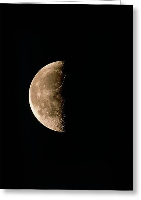 Optical Image Of A Waning Half Moon Greeting Card by John Sanford