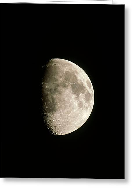 Optical Image Of A Waxing Gibbous Moon Greeting Card by John Sanford