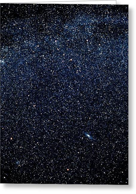 Optical Image Of Cassiopeia And Andromeda Greeting Card