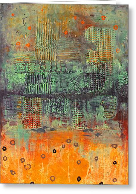 Greeting Card featuring the painting Orange Abstract by Lolita Bronzini