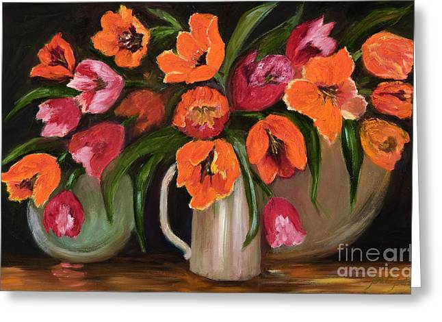 Orange And Red Tulips Greeting Card