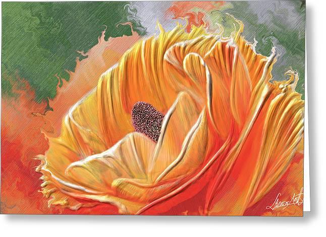 Digital Glass Greeting Cards - Orange Burst Rose Greeting Card by Lance  Kelly