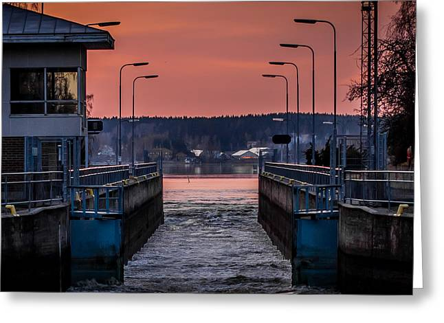 Greeting Card featuring the photograph Orange Canal by Matti Ollikainen