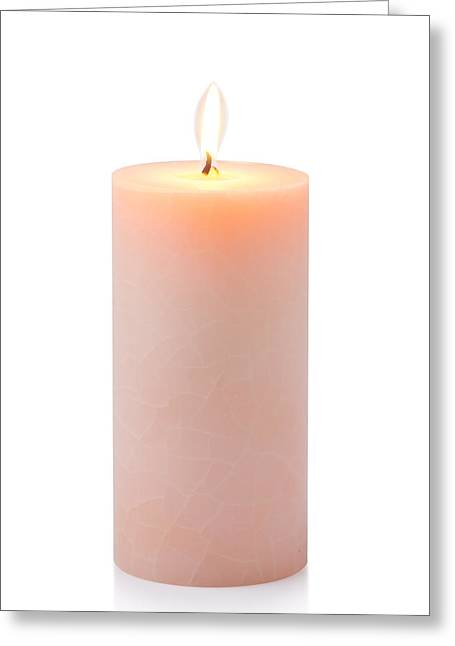 Orange Candle Greeting Card by Atiketta Sangasaeng