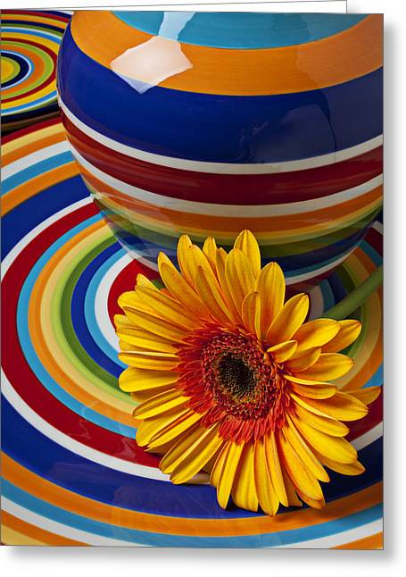 Orange Daisy With Plate And Vase Greeting Card