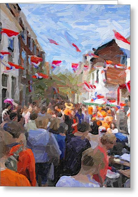 Orange Day Party Greeting Card by Martin  Fry