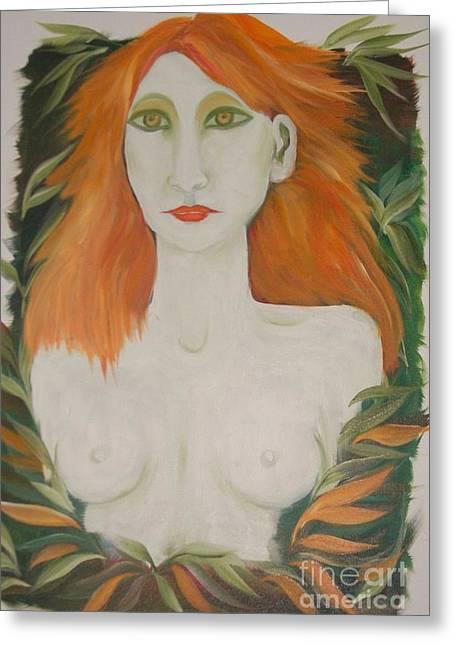 Orange Hair Greeting Card by Rachel Carmichael