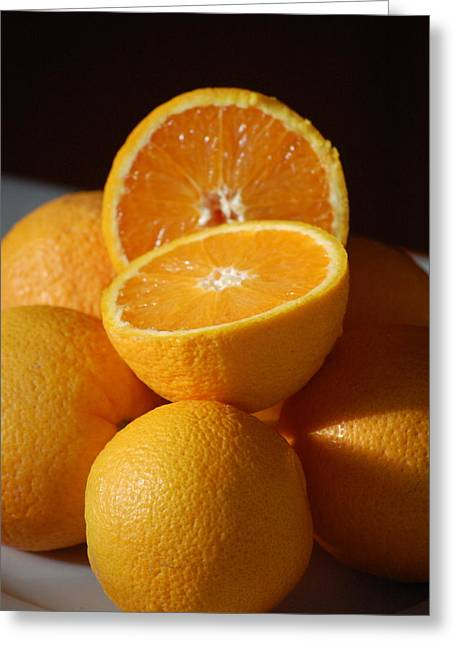 Orange Halves Greeting Card by Dickon Thompson