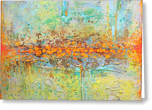 Greeting Card featuring the painting Orange Interference by Lolita Bronzini