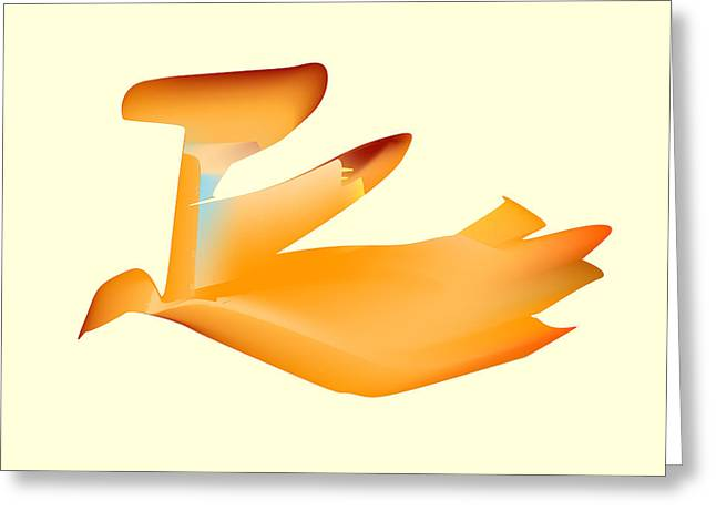 Orange Jetpack Penguin Greeting Card